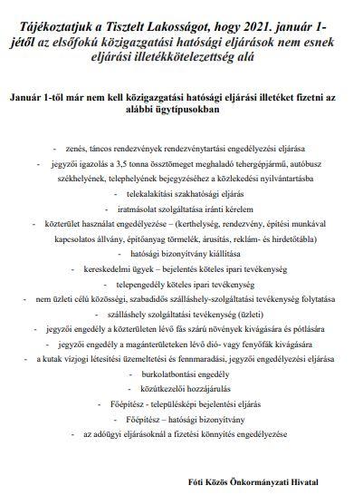 Tájékoztató - közigazgatási hatósági eljárási illetékről