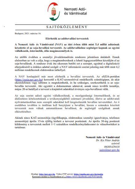 NAV Közlemény - Elérhetők az adóbevallási tervezetek