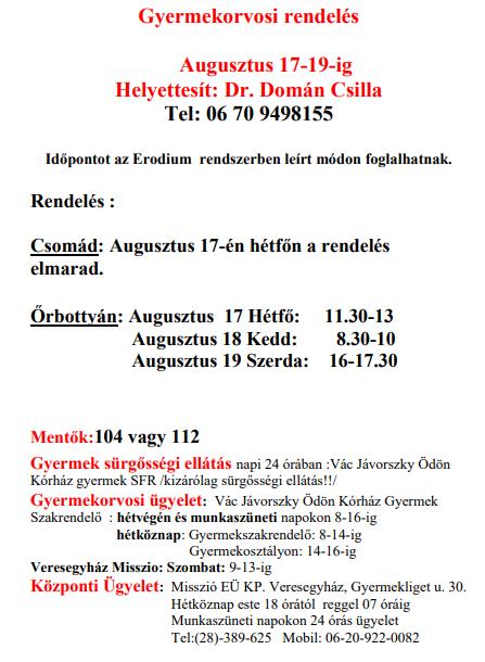 Dr Kicsiny Emese helyettesítése 2020.08.17-19 -ig Dr Domán Csilla