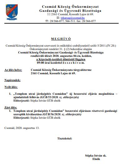 Meghívó gazdasági bizottság 2020_08_14_2