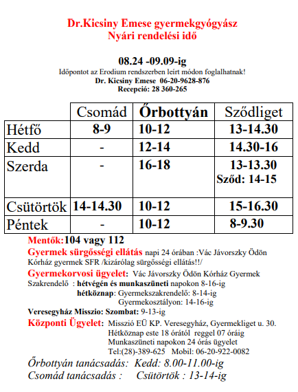 Dr Kicsiny Emese nyári rendelési idő 2020. 09.09-ig