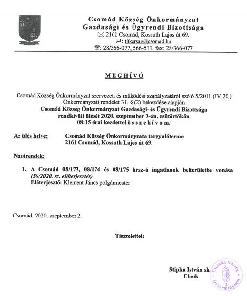 Meghívó GÜB. ülésre 2020.09.03.