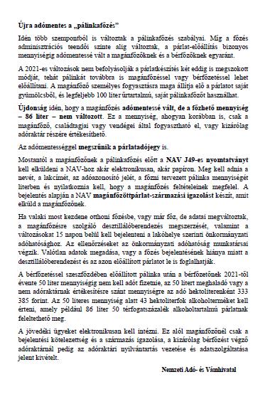 NAV Magánfőzés tájékoztató 2021