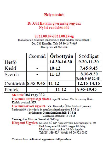 DR Gál Katalin nyári rendelés 2021