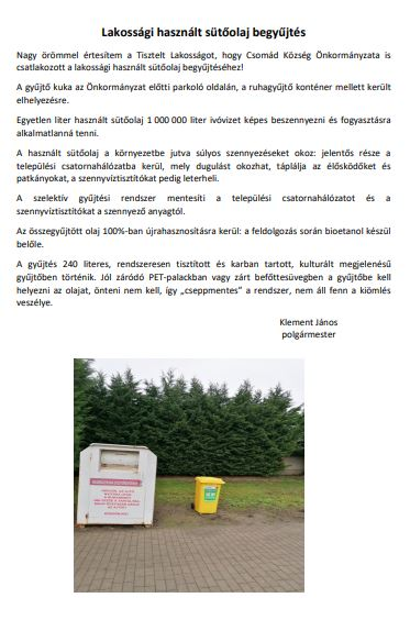 Lakossági használt sütőolaj begyűjtés hirdetmény