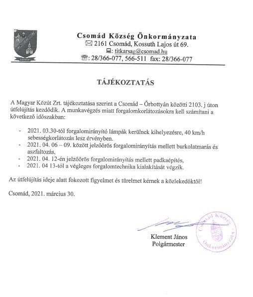 Útfelújítás, Csomád-Őrbottyán közötti 2103.j úton