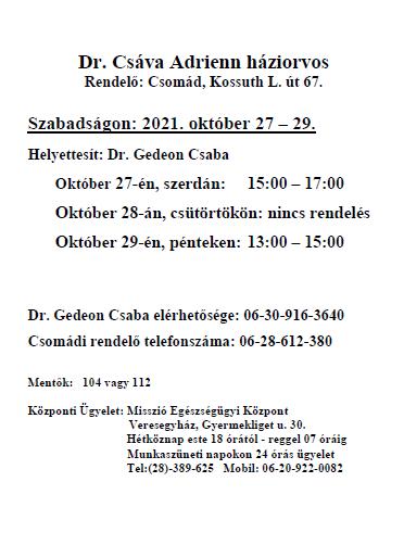 Dr. Csáva Adrienn háziorvoshelyettesítése 2021. október 27 – 29.