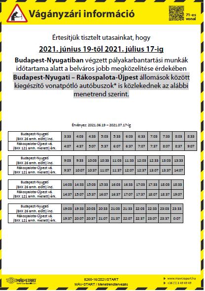 Pályaépítési munkák - 2021. június 19-től 2021. július 17-ig - Budapest-Nyugati – Rákospalota-Újpest állomások között