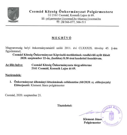 Meghívó KT rendkívüli ülésre -  2020.09.22.