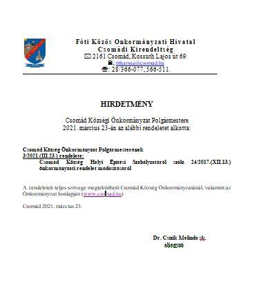 2021. évi 3. A HÉSZ 24/2017.(XII.13.) rendelet módosítása