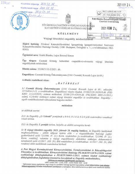 Közlemény - Vízjogi létesítési engedély módosításáról